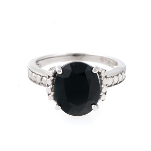 Sterling Silver Black Sapphire Solitaire Ring Size 6.25