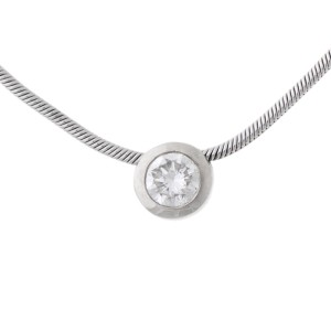 Platinum 0.20ct Bezel Set Diamond Pendant Necklace