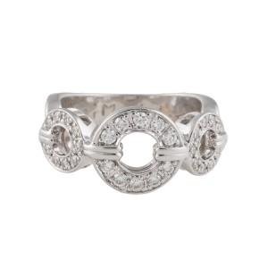 Di Modolo 14K White Gold 3 Buckle 0.4ct. Diamond Ring Size 6