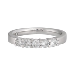 14K White Gold 0.60ctw. Five Stone Wedding Band Size 7.25