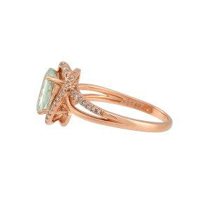 14K Rose Gold Prasiolite 0.20ctw Diamond Ring Size 7