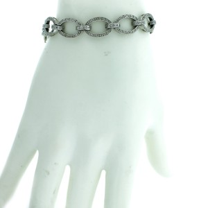 14K White Gold Diamond Oval Link Bracelet