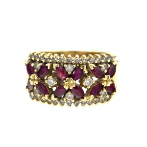 14k Yellow Gold Diamond and Ruby Ring