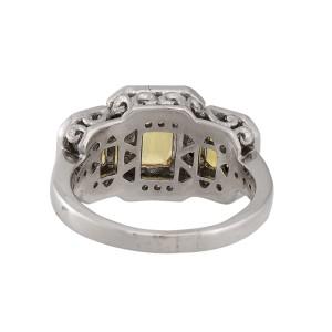 14K White Gold Three Stone Yellow Sapphire Diamond Ring Size 7.5