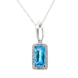 14k White Gold Blue Topaz and Diamond Necklace