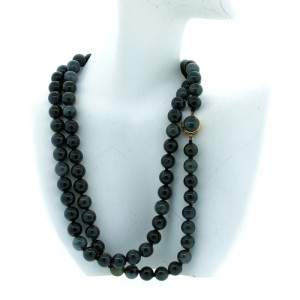 14K Yellow Gold & Black Jade Necklace