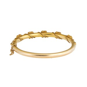 14K Yellow Gold 0.10 Ct Diamond Cuff Bracelet
