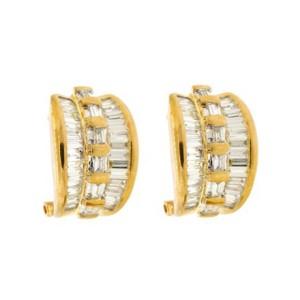 18k Yellow Gold Diamond Cluster Huggie Earrings