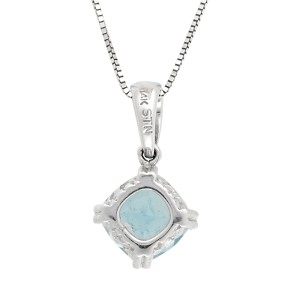 14K White Gold Aquamarine Pendant Necklace
