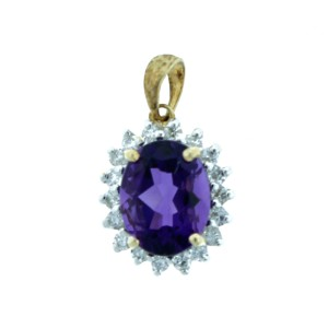 Oval Shape Amethyst Pendant with Diamonds