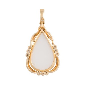 14K Yellow Gold Mabe Pearl and Diamond Pendant