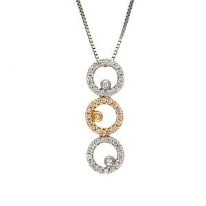 14K Yellow and White Gold 0.28ctw Diamond Circle Drop Pendant