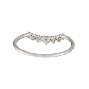 14K White Gold Curved 0.15ctw Diamond Band Size 4.75