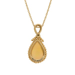 Yellow Gold Opal and Diamond Pendant Necklace