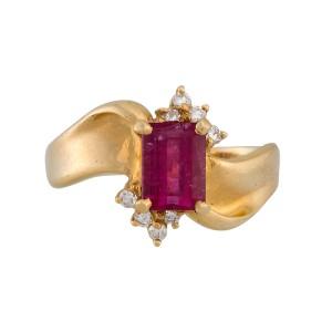 14K Yellow Gold Pink Tourmaline and Diamond Ring Size 7.25