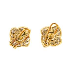14k Yellow Gold Pearl and Diamond Stud Earrings