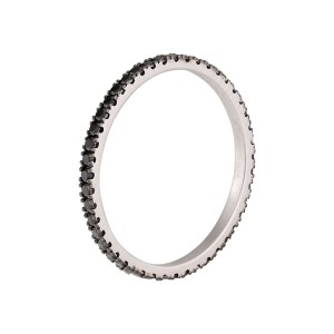 14K White Gold Color Enhanced Black Diamond Eternity Band Size 4.5