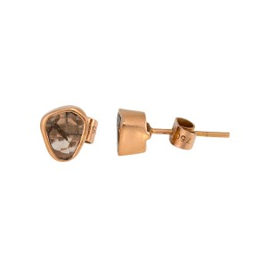 18K Rose Gold Diamond Slice Earrings