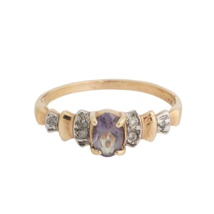 14K Yellow Gold Quartz and 0.05 Ct Diamond Ring Size 6.5