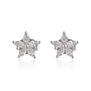 14K White Gold 0.35ctw. Marquise Diamond Flower Stud Earrings