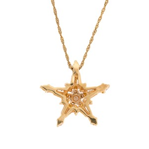 14K Yellow Gold 0.45ctw. Diamond Star Pendant Necklace