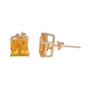 14K Yellow Gold Citrine Quartz Stud Earrings