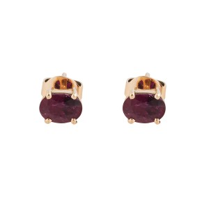 14K Rose Gold and Synthetic Ruby Earrings