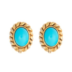 18K Yellow Gold Woven Turquoise Earrings