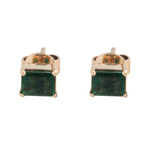 14K Rose Gold Emerald Earrings