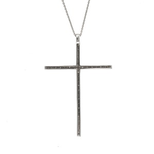14K White Gold 0.55ctw. Diamond Cross Pendant Necklace
