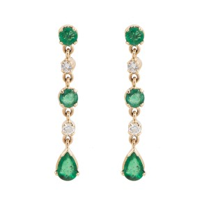 14K Rose Gold Emerald and Diamond Dangle Earrings