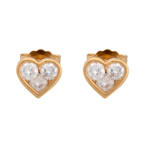 14K Yellow Gold 0.18ctw. Diamond Heart Stud Earrings