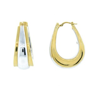 Gold Plated Two-Tone Sterling Silver Large Size Hoops
