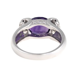 14K White Gold Diamond and Amethyst Ring Size 7
