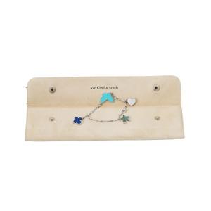 Van Cleef & Arpels 18K White Gold Lucky Alhambra Charm Bracelet