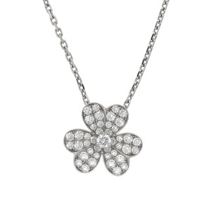 Van Cleef & Arpels 18K White Gold & 0.80ctw Diamond Frivole Pendant Necklace