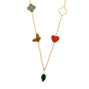 Van Cleef & Arpels 18K Yellow Gold Lucky Alhambra Necklace