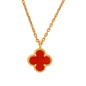 Van Cleef & Arpels Sweet Alhambra 18K Yellow Gold with Carnelian Pendant Necklace