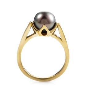 Kabana 18K Yellow Gold Black Pearl & Diamond Ring