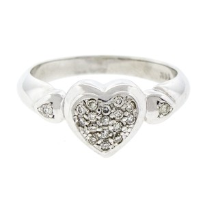 14K White Gold and Diamond Heart Cluster Engagement Ring