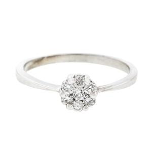 14K White Gold Diamond Cluster Engagement Ring