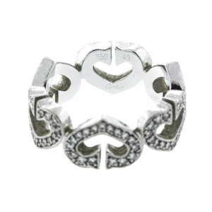 Cartier 18K White Gold and Diamond Heart Ring Size 4.5