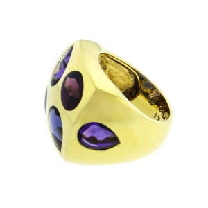 Chanel 18K Yellow Gold Color Stone Baroque Ring