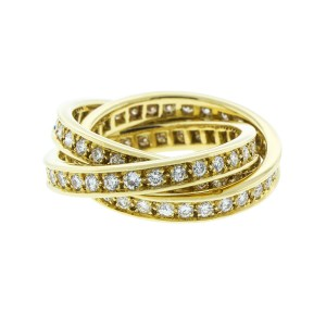 Cartier 18K Yellow Gold and Diamond Trinity Ring Size 4.5