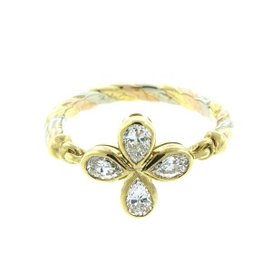 Cartier 18K TriColor Gold Diamond Flower Ring Size 4.75