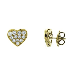 Bulgari 18K Yellow Gold And Diamond Heart Stud Earrings