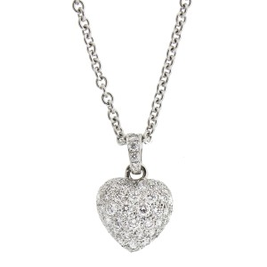 Cartier 18K White Gold Heart Shape Diamond Pendant Necklace