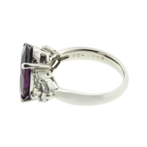 Platinum and Pyrope Garnet Diamond Ring