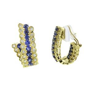 18K Yellow Gold Diamond and Sapphire 3 Row Hoop Earrings