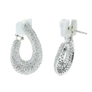18K White Gold Pave Diamond Hoop Earrings